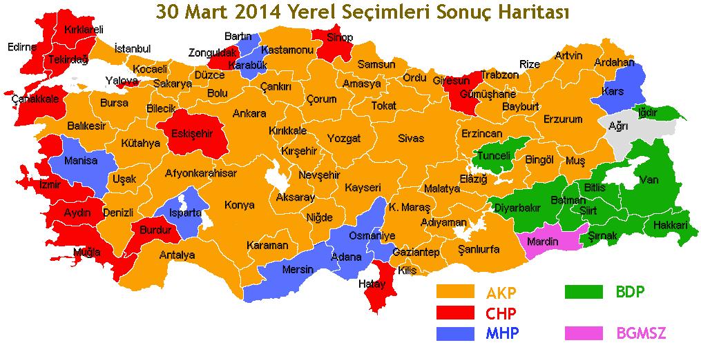 30 mart yerel seçim sonuç haritası