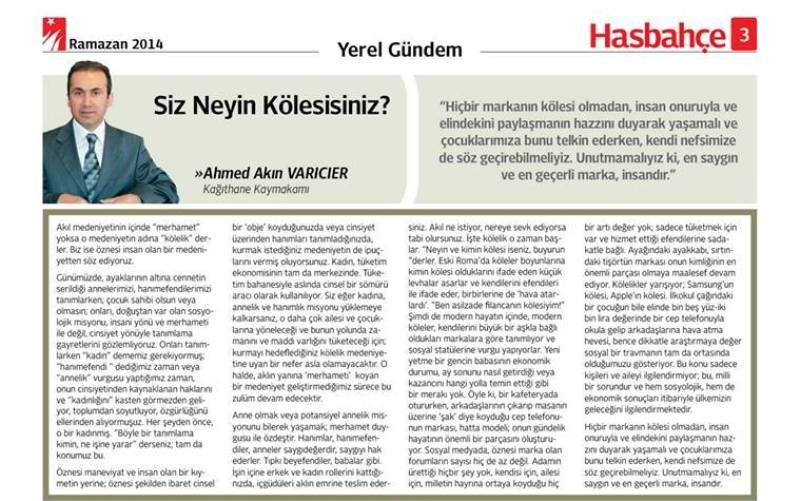 Ahmet Akın Varıcıer Hasbahçe Gazetesi